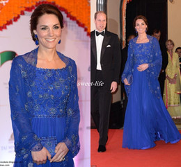 long evening dresses india 2019 - Kate Middleton Celebrity Dresses India Outfits 2016 Royal Blue Long Sleeve Evening Gowns Jacket Embroidery Beads Chiffon