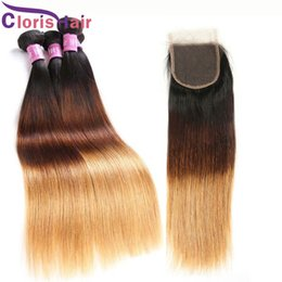 Discount cheap straight blonde hair extensions - 1B 4 27 Ombre Brazilian Virgin Human Hair Weaves With Lace Closure Cheap Colored Blonde Extensions Silk Straight 3 Bundl