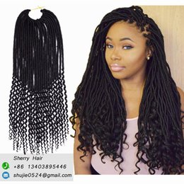 """Black Brown Curly Hair Extensions NZ - 20"""" 24strands pack Dreadlock Crochet Braiding Goddess Faux Locs Curly Wavy End Black Ombre Bug Brown Synthetic Fiber Hair Extension 100g pc"""