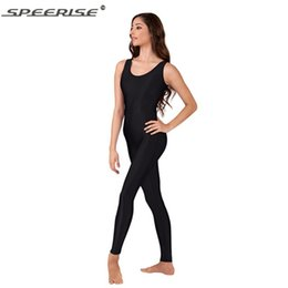 Dragueurs De Danse Pas Cher-Gros-One Piece noir réservoir Unitard femmes Lycra manches Ballet Full Body Tight Costumes Jumpsuit Unitard danse Unitards Bodysuit
