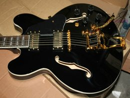 335 Black Guitar NZ - Black Custom Shop Hollow 335 Jazz Guitar High Quality Free Shipping