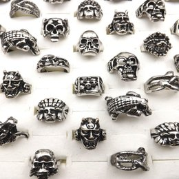 devil alloys Canada - Fashion Alloy Rings Hip Pop Style Skull&devil Designed Rings Fit Halloween Party Mix Lot 50PCS Wholesale