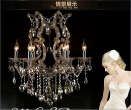 China Modern Cognac chandelier crystal light with K9 crystal maria theresa style Glass chrystal lighting fixture MDS06 L6 fast shipping cheap chrystal lights suppliers