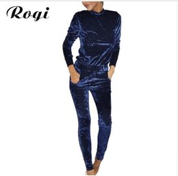 Barato Ternos De Suor De Veludo-Rogi Velvet Women Sets Moda Long Sleeve Bodycon Slim Sweat Suits Hoodies Tracksuit Sweatshirt Two Piece Trousers Women