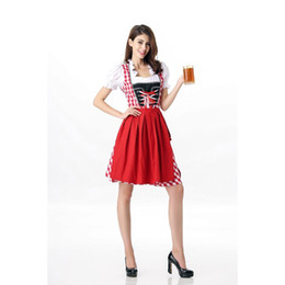 Movie Costume Design Canada - New Design Sexy Beer Girl Dress 2 Pieces Germany Oktoberfest Outfits Women Fashion Halloween Beer Apron Maid Uniform Fancy Dress A417039