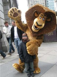 Make lion costuMe online shopping - custom made Madagascar Top Selling Alex Lion Mascot Costume Plush Cartoon Character Suit Adult Size Free EMS Shipping