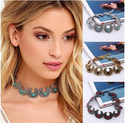 $enCountryForm.capitalKeyWord Canada - New Bohemian Necklace Antique Silver Horn Design Chunky Turquoise Chokers Necklace Jewelry For Women Ladies Christmas Gifts Wholesale Xmas