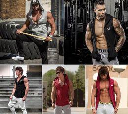 Discount wholesale muscle tops - Sales Sportgym bodybuilding workout Tracksuit Top Men's Training Gym muscle Hoodies Sports Running hoodies slim sle