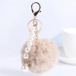 $enCountryForm.capitalKeyWord Canada - Fur Ball Fluffy Round Ball with Crown Pearl Strip Rose Gold Plated Metal Keychain Keyring Car Key Chains Handbag Charms Women's Girl's Gift