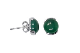 Wholesale Fine Jewelry Real Sterling Silver Jewlery Stud Earrings with Green Agate Stone YH1005