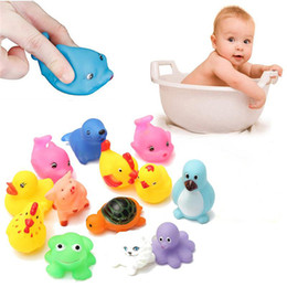 toy washing Canada - 13Pcs Cute Soft Rubber Float Squeeze Sound Dabbling Toys Baby Wash Bath Play Animals Toys Bath Toy