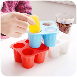 Frozen Glasses NZ - 100pcs lot 4-Cup Ice Cube Shot Shape Silicion Shooters Glass Freeze Molds Maker Tray Party free ship