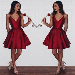 95849c6c546b Pictures beautiful graduation dresses online shopping - Beautiful Red Short  V Neck Homecoming Dresses Simple Spaghetti