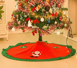Santa Claus Tree Skirt Christmas Ornament Skirts Vintage Non Woven Cartoon Apron 354 Festive Party Decorations Supplies Red
