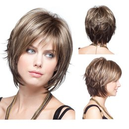 Discount black blonde highlights 2017 black hair blonde natural highlights short blonde wig synthetic afro hair puffy straight short wigs for black women free ship pmusecretfo Image collections