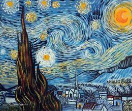 $enCountryForm.capitalKeyWord Australia - Framed Starry Night Van Gogh Famous Moonlit Town Church,Pure Hand Painted Landscape Art Oil Painting Canvas.Multi Sizes Available John