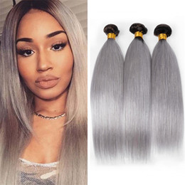 16 inch 1b hair Australia - 8A 2 Tone 1B Grey Ombre Straight Hair Bundles Dark Roots Silver Grey Ombre Brazilian Hair Weaves Black Gray Extensions