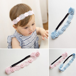 Wholesale 20pcs Pink Blue Fashion Cute Pearl Crochet Flower Girls Adjustable Elastic Hairbands Solid Kawaii Floral Newborn Soft Headbands