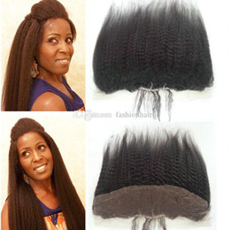 Lace Frontal Brazilian Kinky Hair Canada - Kinky Straight Lace Frontal Closure 13*4 Unprocessed Brazilian Virgin Human Hair Ear To Ear Swiss Lace Closure With Baby Hair