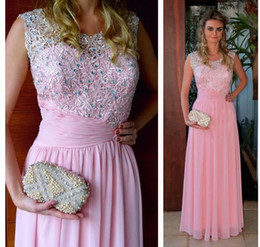 Celebrity Occasions Dresses Canada - Celebrity Evening Dresses 2019 Special Occasion Dresses for Women Pink Long Formal Gowns Vintage A Line Scoop Lace Appliques and Crystals