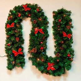Folk Art Christmas UK - 270cm LED lights christmas bow decoration,new year Festival Holiday Fiesta feast Christmas garland, Christmas decorations 1.4kg