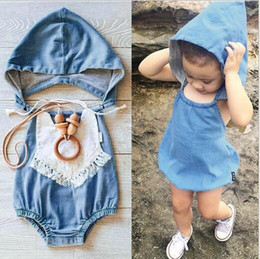 Barato Menina Verão Quente-Ins Hot Infant Baby Girls Denim Casaco com capuz Toddler Wash Blue Fashion Jumpsuits 2016 Summer's Children One pieces babies clothes