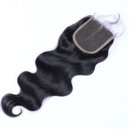 $enCountryForm.capitalKeyWord NZ - 7A Quality Peruvian 4*4 Body Wave Lace closure No Shedding Free Tangle Full And Thick Free Shipping Fee DHL