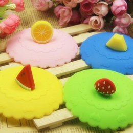 $enCountryForm.capitalKeyWord Canada - Silicone Cup Lid Round Dust Proof Creative Sealing Anti Leakage Novelty Fruit Shape Lemon Watermelon Cups Cover 1 5hj F R
