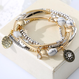 Hope jewelry sets online shopping - Europe America Vintage Fashion Multilayer Beads Hope Letter Blue White Stone Bracelet Bangles Jewelry For Women