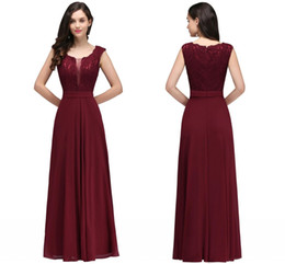 $enCountryForm.capitalKeyWord UK - Burgundy Formal Evening Dresses 2018 New Designers Floor Length Cheap V Neck Cheap Chiffon Lace Prom Dresses Guest Wear CPS724