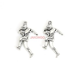 Chinese  20pcs Tibetan Silver Plated Football Player Charms Pendants for Necklace Bracelet Jewelry Making DIY Handmade 30x20mm manufacturers