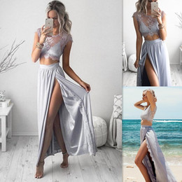 $enCountryForm.capitalKeyWord NZ - High Split Evening Dresses Two Piece Sexy Lace Top Sheer Neck Prom Gowns Sliver Long Cheap Party Dress Free Shipping