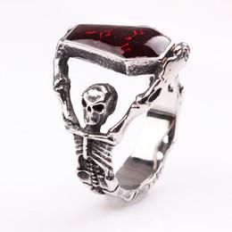 Discount skull ring mix - Gothic Vampire Ring - Skeleton Skull Bloody Red Enamel Coffin Rings - Stainless Steel Ring For Mens Boys Biker Halloween