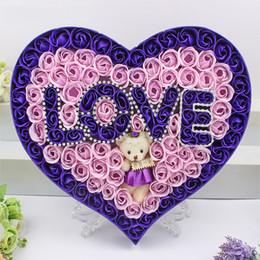 Любовь тема ванна тела сердце роза лепесток бумаги мыло тела душистые цветочные мыло с плюшевым запахом милый медведь День Святого Валентина подарок