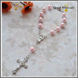 $enCountryForm.capitalKeyWord Canada - 50pcs lot Religious Gifts Pink Pearl Rosary Bracelet Girl's Communion children's Baptism Favor Decade Glass Rosary