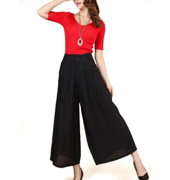 86232fe5b2d Plus Size Summer Women Cotton And Linen Casual Pants Solid Loose Wide Leg  Pants Female Casual Skirt Trousers Culottes BL1480