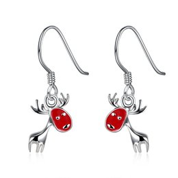 Barato Pequeno Vermelho Bonito-Red Christmas Elk Deer Pendant Dangle Earrings Silver Plated Reindeer Charms Jóias Presentes bonitos para mulheres Girl Girl Earrings E839