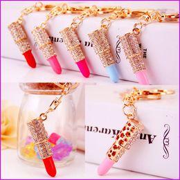 $enCountryForm.capitalKeyWord Canada - Lipstick Rhinestone Crystal Keyring Key Chain Charm Pendant Car Gold KeyChains For Woman Lady Girl Gift