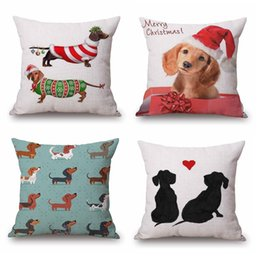 $enCountryForm.capitalKeyWord Canada - 52 Styles Dogs Cushion Covers Dachshunds Wiener Sausage Dog With Hat Bull Terrier Pillow Cover Merry Christmas Gift Linen Beige Pillow Case