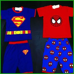 $enCountryForm.capitalKeyWord Canada - superman baby boy outfits summer sports suits short sleeve t-shirts three-quarter pants batman clothing suits children hot selling clothes