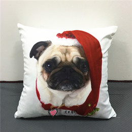 Hat Bulls Canada - Lovely Pug Dog Wearing Christmas Hat Cushion Cover Bull Terrier Schnauzer Dogs Cushions Covers Baby Kids Soft Short Plush Pillow Case Gift