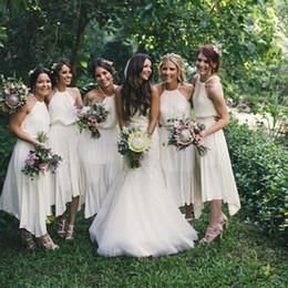 $enCountryForm.capitalKeyWord Canada - White Bridesmaid Dresses Tea Length Halter Neck Chiffon Open Back Sexy Flowy Wedding Party Gowns For Girls