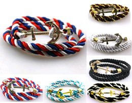 white braided rope bracelets Canada - Hot Sale Multilayer Braided Leather Charm Bracelet Fashion Vintage Anchor Braid Rope Wraps Bracelets Statement Jewelry Wholesale