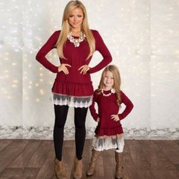 Clothes for mother baby online shopping - Mother And Daughter clothes family matching Christmas dresses for girl lace skirt baby Outfit girls fall fashion Children Costume QZZW021