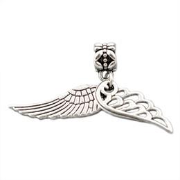 Loose Connectors UK - Silver plated Angel wings pendant Big Hole Loose Beads Pandora DIY Jewelry Bracelet Pendant European Beaded Bracelet Necklace accessories