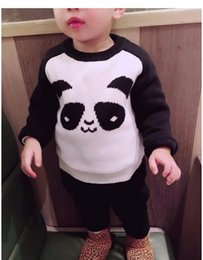 Barato Bebê Jumper-2017 Inverno Outono Spring Boy Girl manga comprida Panda Design Sweaters Crianças Algodão Pullover Sweaters Baby Infant Toddler Jumper Sweaters