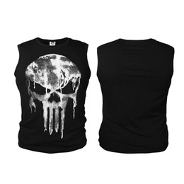 Camisetas Deportivas Para Hombres Baratos-The Punisher Anti-héroe Skull Men Summer Chaleco camiseta sin mangas GYM Chalecos Fitness Sport Bodying construcción Tank Tops