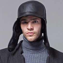 Wholesale-DL-10603 Wholesale-New 2016 Winter Hats For Men leather Warm Fur Hat  Cap With Ear Flaps Russian Hat Men Leifeng Beanies 7f67e82328eb