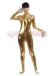 $enCountryForm.capitalKeyWord Canada - (SM023) shiny metallic zentai Suit for Men women front open halloween performance zentai Catsuit costume