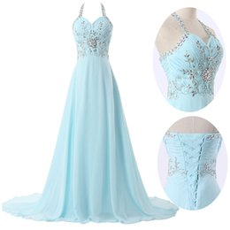 $enCountryForm.capitalKeyWord Canada - Corset Prom Dresses Light Sky Blue Halter Beaded Lace Up Evening Gowns Sweetheart Real Photos Long Chiffon A Line Studded Dress For Girls